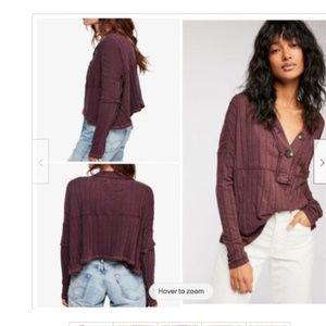 WE THE FREE PLUM IN THE MIX RIB BUTTON TOP